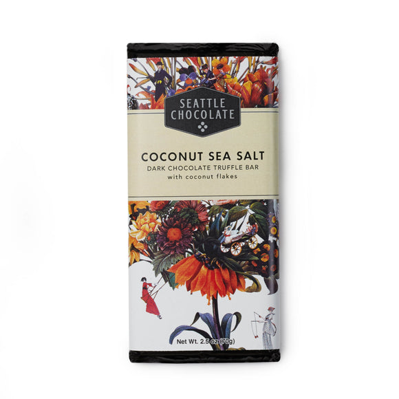 Coconut Sea Salt Truffle Bar. Gluten-Free. Non-GMO. Kosher Dairy. Vegan. Brand: Seattle Chocolate, USA.