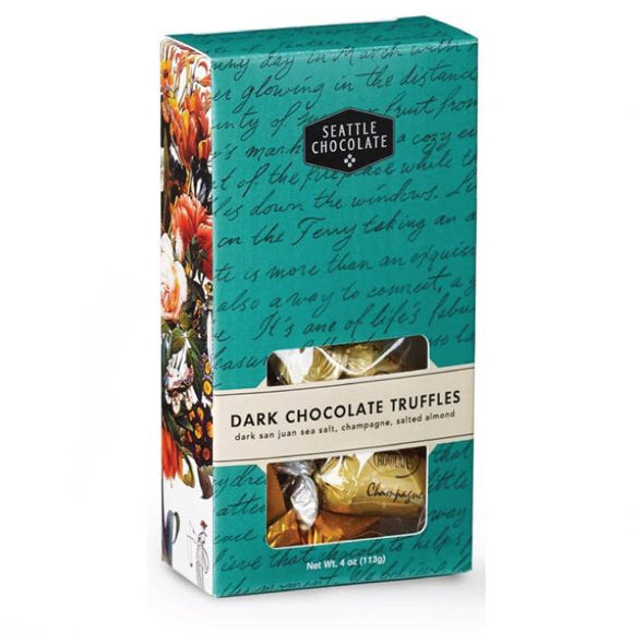 Dark Chocolate Truffle Box. 3 flavors. Gluten-Free. Non-GMO. Kosher Dairy. Brand: Seattle Chocolate, USA.