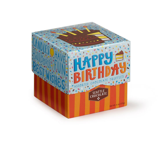 Happy Birthday Gift Box. Assortment of 6 truffle flavors. Gluten-Free. Non-GMO. Kosher Dairy. Brand: Seattle Chocolate, USA.
