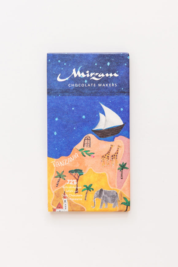 Tanzania Bar. Dark chocolate 72%. Gluten free. Vegan friendly. Brand: Mirzam, United Arab Emirates.