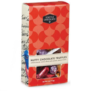 Nutty Chocolate Truffle Box. 3 flavors. Gluten-Free. Non-GMO. Kosher Dairy. Brand: Seattle Chocolate, USA.
