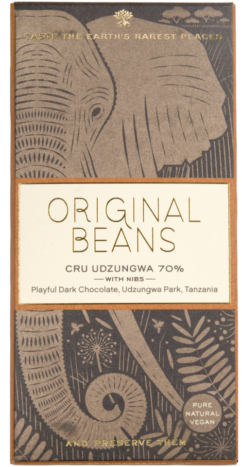 Cru Udzungwa with Nibs Bar. Dark chocolate 70%. Certified Organic. Gluten Free. Vegan. Brand: Original Beans, Switzerland.