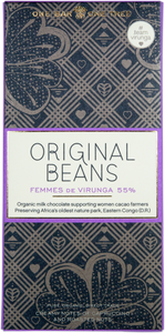 Femmes de Virunga Bar. Milk chocolate 55%. Certified Organic. Gluten Free. Vegan. Brand: Original Beans, Switzerland.