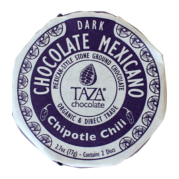 Chipotle Chili Disc. Mexican style Dark chocolate 70%. Two discs per pack. Certified Organic. Direct Trade. Gluten-Free. Kosher. Non-GMO. Brand: Taza, USA.