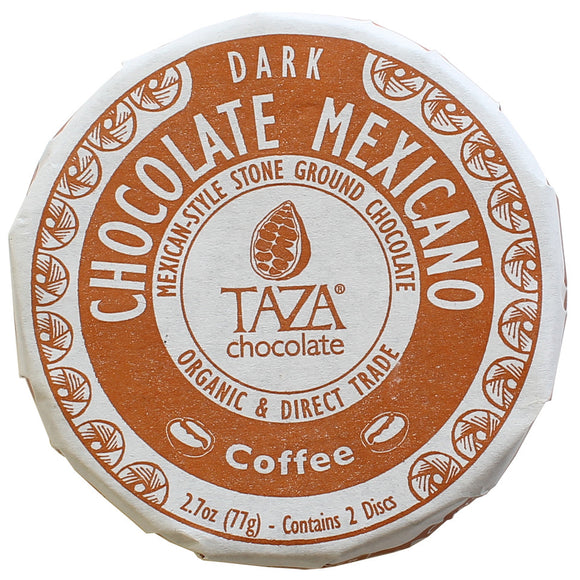 Coffee Disc. Mexican style Dark chocolate 55% with coffee. Two discs per pack. Certified Organic. Direct Trade. Gluten-Free. Kosher. Non-GMO. Brand: Taza, USA.