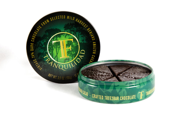 Wild Harvest Beniano Tin. Dark chocolate 74%. Nut-Free. Soy-Free. Gluten-Free. Brand: Tranquilidad, Bolivia.