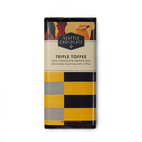 Triple Toffee Truffle Bar. Made with milk chocolate. Gluten-Free. Non-GMO. Kosher Dairy. Brand: Seattle Chocolate, USA.