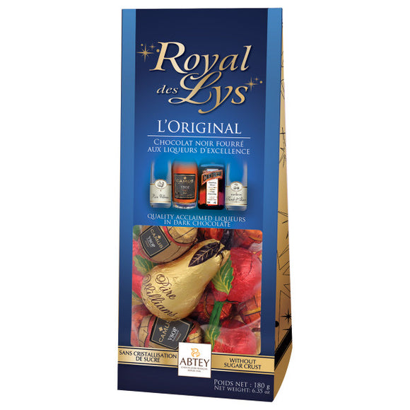 L'Original Dark Chocolate Liqueur-Filled Assortment Bag. Assortment of barrel-shaped and fruit-shaped dark chocolates filled with four fine spirits. Brand: Abtey, France.