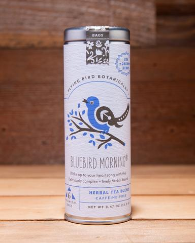 Bluebird Morning - 6 Tea Bag Tin - Herbal Blend. Organic Certified. Caffeine Free. Brand: Flying Bird Botanicals, USA.