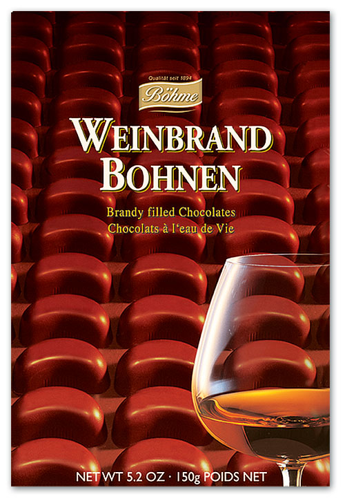 Chocolate Brandy Beans. Dark chocolate filled with brandy. Brand: Bohme, Germany.