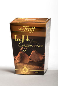 Cappuccino Cocoa Dusted Truffles Box. Belgian Truffles with the taste of cappuccino. Great gift! Brand: Deli Truff, Belgium.