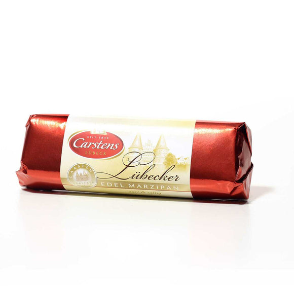 Chocolate Covered Lübecker Marzipan Bar. World's best almond Lübecker marzipan covered with premium dark chocolate. Brand: Carstens, Germany.