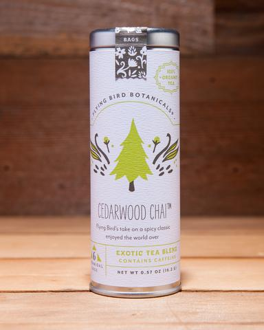 Cedarwood Chai - 6 Tea Bag Tin - Exotic Blend. Organic Certified. Caffeinated. Brand: Flying Bird Botanicals, USA.