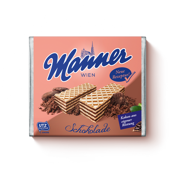 Chocolate Creme Wafers. Made with smooth, silky chocolate. Sustainably sourced cocoa and palm ingredients. Brand: Manner, Austria.