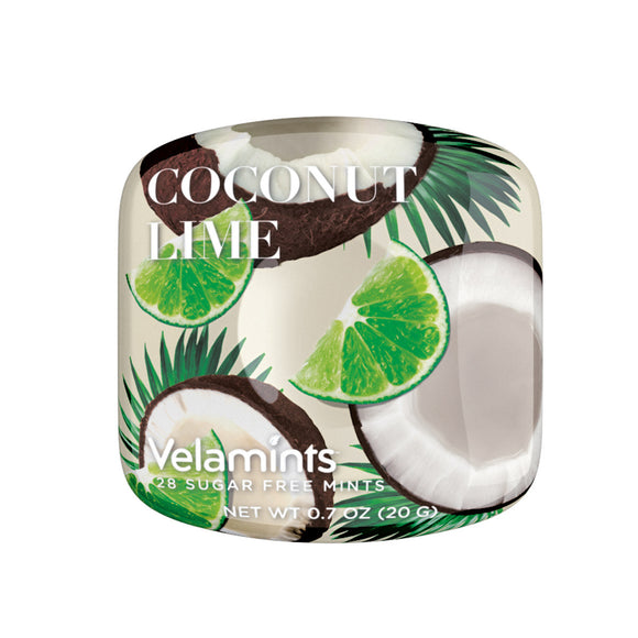 Coconut Lime Mints Tin. Sugar-free flavorful breath fresheners. GMO and Gluten Free. No Artificial Flavors and Colors. Brand: Velamints, Canada.