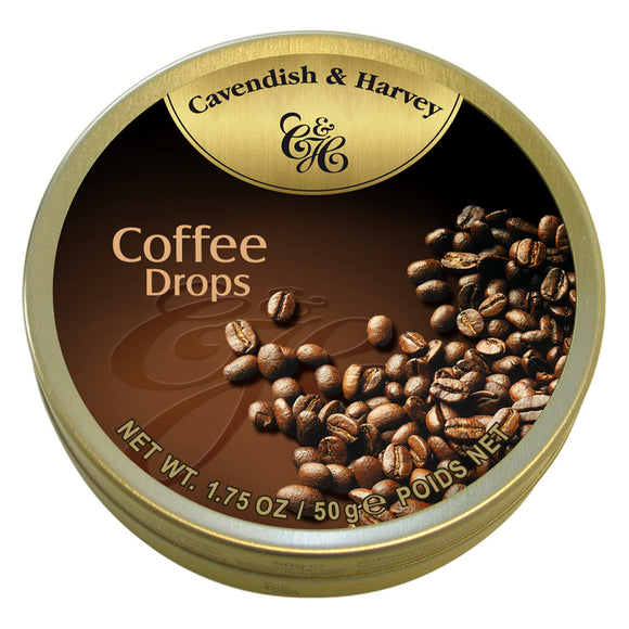 Coffee Deluxe Drops Tin Small. Kosher. Gluten Free. Preservatives Free. Brand: Cavendish & Harvey, Germany.