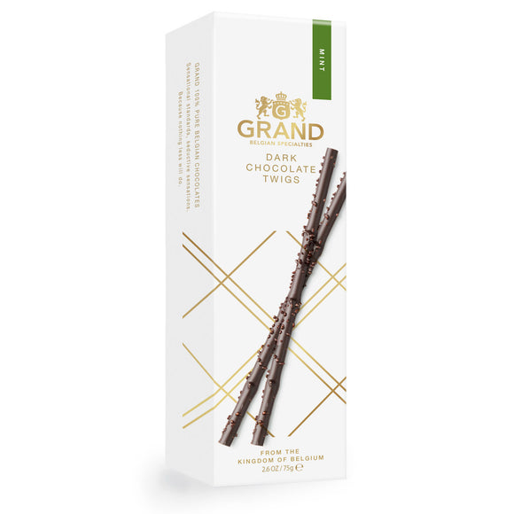 Dark Chocolate Mint Twigs Box. Belgian mint flavored dark chocolate. Brand: Grand, Belgium.