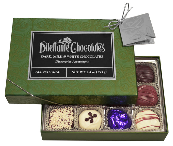 Discoveries Premier Assortment Gift Box - 12 Piece. Assortment of dark, milk, and white chocolate. All natural. Brand: Dilettante, USA.