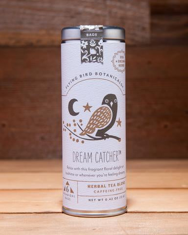 Dream Catcher - 6 Tea Bag Tin - Herbal Blend. Organic Certified. Caffeine Free. Brand: Flying Bird Botanicals, USA.