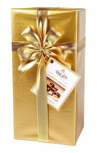 Liqueur-Filled Assorted Pralines Gift Box. Belgian chocolate - white, milk and dark chocolate assortment with premium liqueurs. 3 different wrap varieties. Brand: Duc d'O, Belgium.