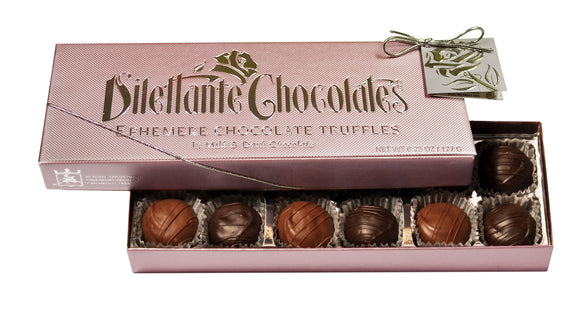 Ephemere Truffles Specialty Gift Box - 12 Piece. Dark chocolate. All natural. Brand: Dilettante, USA.