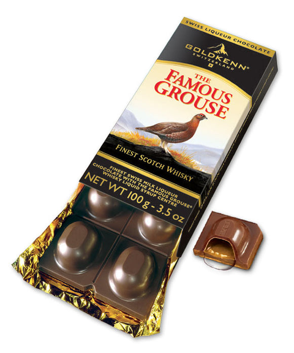 Famous Grouse Liquor Bar. Swiss milk chocolate 37% with Liquor. Brand: Goldkenn, Switzerland.