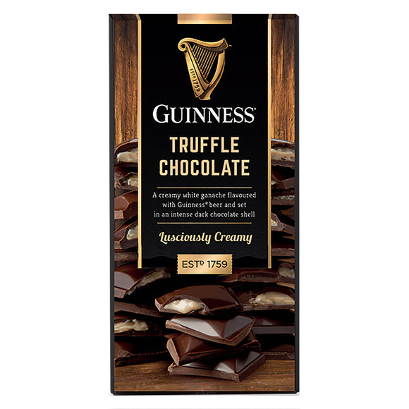 Dark Chocolate Guinness Truffle Bar. Ganache flavored with Guinness beer in a dark chocolate shell. Brand: Guinness, Ireland.