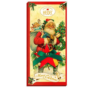 Christmas Greetings Nostalgia Milk Chocolate Bar. Christmas theme packaging featuring Santa carrying gifts. Brand: Heidel, Germany.