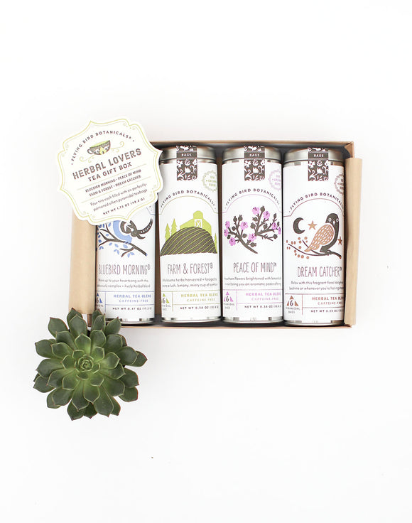 Herbal Lovers Tea Gift Box - 4 Tins, 6 Tea Bags per Tin