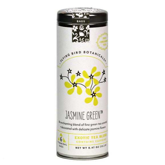 Flying Bird Botanicals Jasmine Green - 6 Tea Bag Tin - Exotic Blend. Organic Certified.