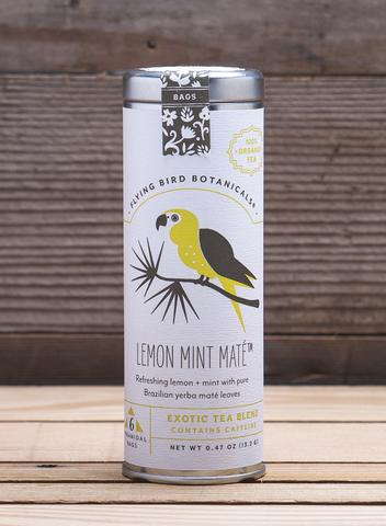 Lemon Mint Mate - 6 Tea Bag Tin - Exotic Blend. Organic Certified. Caffeinated. Brand: Flying Bird Botanicals, USA.