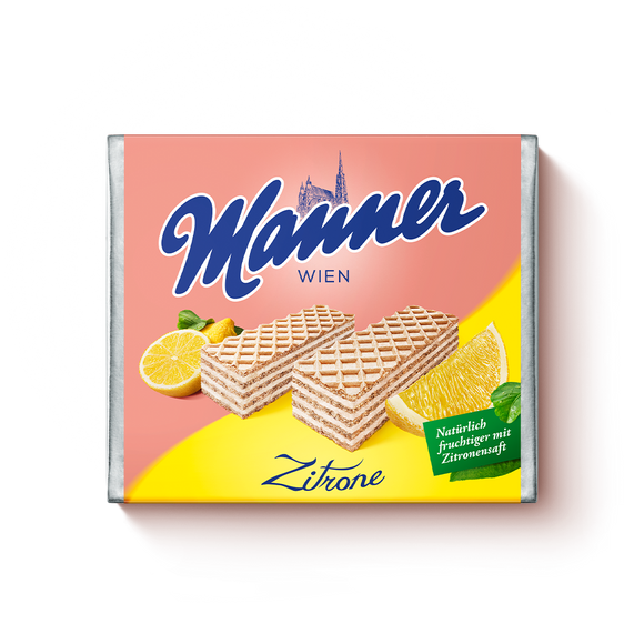 Hazelnut Creme Wafers. Made with tangy lemon cream. Sustainably sourced cocoa and palm ingredients. Brand: Manner, Austria.
