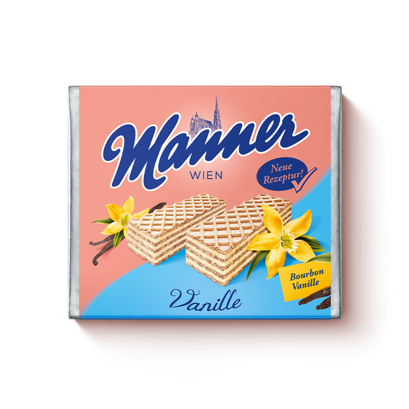 Vanilla Creme Wafers. Made with delicate vanilla cream. Sustainably sourced cocoa and palm ingredients. Brand: Manner, Austria.