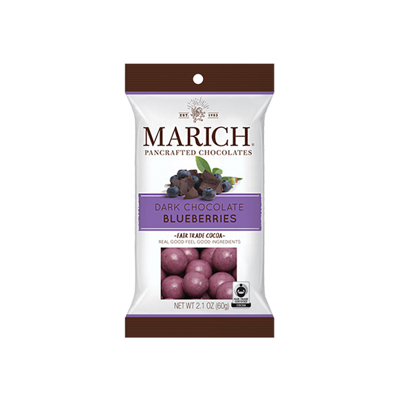 Dark Chocolate Blueberries Bag. Blueberries panned in a thin layer of blueberry flavored white chocolate and in rich dark chocolate. Brand: Marich, USA.