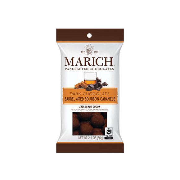Dark Chocolate Barrel Aged Bourbon Caramels Bag. Caramels in rich dark chocolate. Flavored with bourbon. Brand: Marich, USA.