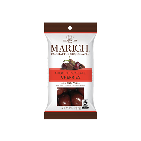 Milk Chocolate Cherries Bag. West Coast sweet Bing cherries panned in several layers of creamy milk chocolate. Brand: Marich, USA.