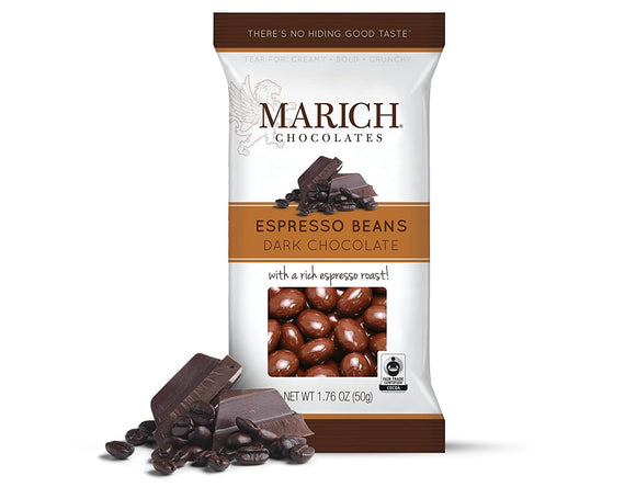 Dark Chocolate Espresso Beans Bag. Fair Trade espresso beans panned in dark chocolate. Brand: Marich, USA.