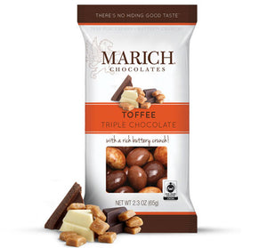 Triple Chocolate Toffee Bag. California chopped almonds in dark chocolate, milk chocolate and a marbled dark and white chocolate. Brand: Marich, USA.
