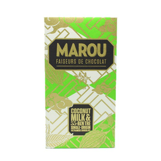 Coconut Milk & Ben Tre Bar. Dark chocolate 55% with coconut milk. Brand: Marou, Vietnam.