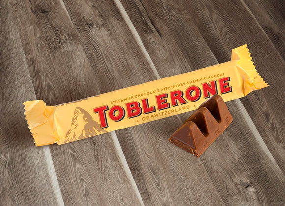 Milk Chocolate with Honey and Almond Nougat Mini Bar. Brand: Toblerone, Switzerland.