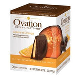 Creme d'Orange Dark Chocolate. Orange-shaped ball of 20 pieces, dark chocolate filled with orange creme. Brand: Ovation, Canada.