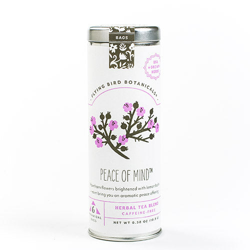 Peace of Mind - 6 Tea Bag Tin - Herbal Blend. Organic Certified. Caffeine Free. Brand: Flying Bird Botanicals, USA.