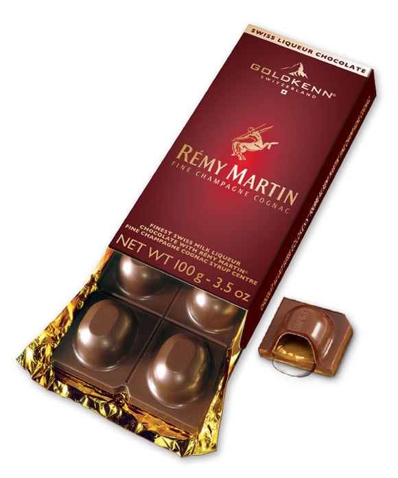 Rémy Martin Liquor Bar. Swiss milk chocolate 37% with Liquor. Brand: Goldkenn, Switzerland.