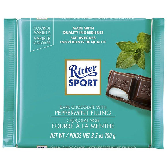 Dark Chocolate Peppermint Bar. Premium dark chocolate is filled with refreshing peppermint fondant. Brand: Ritter, Germany.