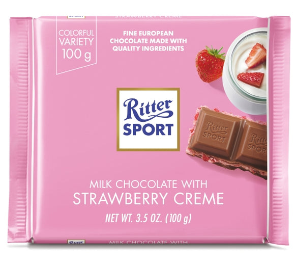Milk Chocolate With Strawberry Creme Bar. Filled with strawberry yogurt mousse and crunchy rice crisps. Brand: Ritter, Germany.