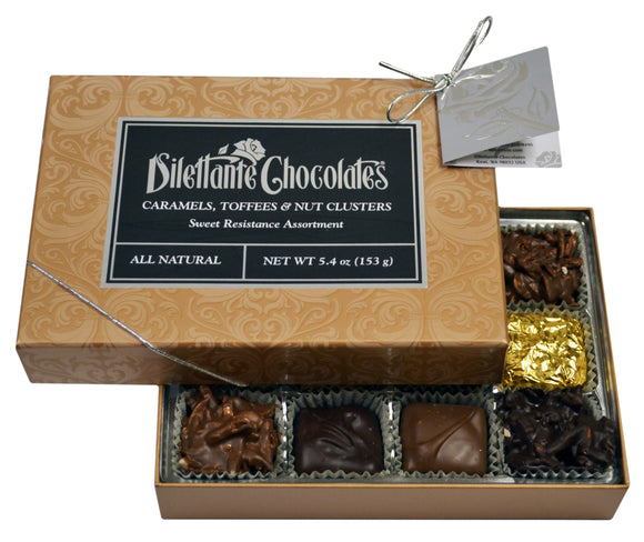 Sweet Resistance Premier Assortment Gift Box - 12 Piece. Assortment of dark, milk, and white chocolate. All natural. Brand: Dilettante, USA.