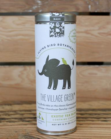 The Village Green - 6 Tea Bag Tin - Exotic Blend. Organic Certified. Caffeinated. Brand: Flying Bird Botanicals, USA.