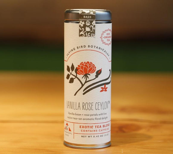 Vanilla Rose Cacao - Drinking Chocolate Tin. Organic Certified. Brand: Flying Bird Botanicals, USA.