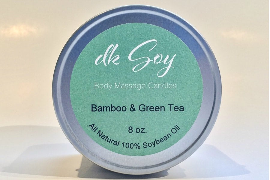 large travel tin massage oil candle