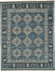"Feizy Ustad 6111F Dark Blue / Gray 5'-6"" x 8'-6"" Rectangle Area Rug"